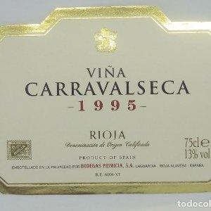 Viña Carravalseca 1995 Bodegas Primicia. Laguardia. Rioja Alavesa. Etiqueta impecable 11x7,5cm