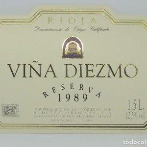 Viña Diezmo 1989 Bodegas Primicia. Laguardia. Rioja Alavesa. Etiqueta impecable 11x7,5cm