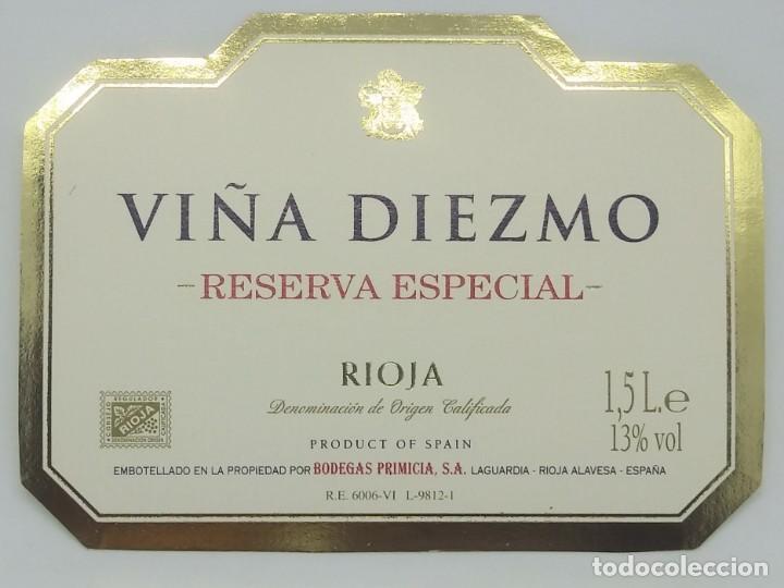 Viña Diezmo Reserva especial Bodegas Primicia. Laguardia. Rioja Alavesa. Etiqueta impecable 11x7,5cm - 160097346