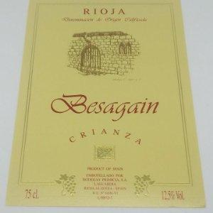 Besagain. Crianza. Bodegas Primicia. Laguardia. Rioja Alavesa. Etiqueta impecable 13x9,1cm