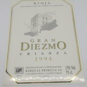 Gran Diezmo. Crianza 1994. Bodegas Primicia. Laguardia. Rioja Alavesa. Etiqueta impecable 13x9,1cm