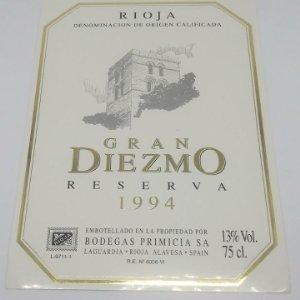 Gran Diezmo. Reserva 1994. Bodegas Primicia. Laguardia. Rioja Alavesa. Etiqueta impecable 13x9,1cm