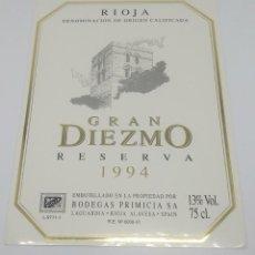 Etiquetas antiguas: GRAN DIEZMO. RESERVA 1994. BODEGAS PRIMICIA. LAGUARDIA. RIOJA ALAVESA. ETIQUETA IMPECABLE 13X9,1CM. Lote 160097986