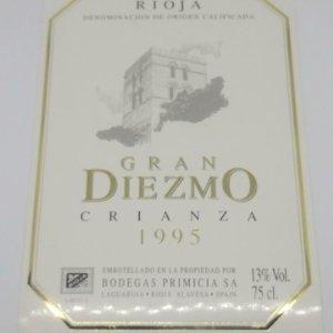 Gran Diezmo. Crianza 1995. Bodegas Primicia. Laguardia. Rioja Alavesa. Etiqueta impecable 13x9,1cm