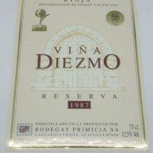 Viña Diezmo. Reserva 1987. Bodegas Primicia. Laguardia. Rioja Alavesa. Etiqueta impecable 13x9,1cm