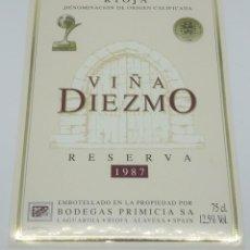 Etiquetas antiguas: VIÑA DIEZMO. RESERVA 1987. BODEGAS PRIMICIA. LAGUARDIA. RIOJA ALAVESA. ETIQUETA IMPECABLE 13X9,1CM. Lote 160099214