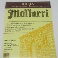 Etiquetas antiguas: MOLLARRÍ. BODEGAS PRIMICIA. LAGUARDIA. RIOJA ALAVESA. ETIQUETA IMPECABLE 13X9,1CM. Lote 160099642