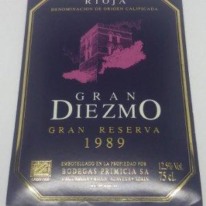 Gran Diezmo Gran reserva 1989 Bodegas Primicia Laguardia Rioja Alavesa. Etiqueta impecable 13x9,1cm