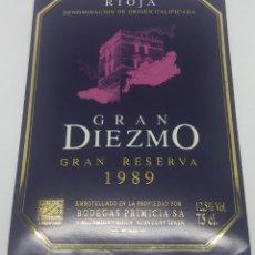 Etiquetas antiguas: GRAN DIEZMO GRAN RESERVA 1989 BODEGAS PRIMICIA LAGUARDIA RIOJA ALAVESA. ETIQUETA IMPECABLE 13X9,1CM. Lote 160099850