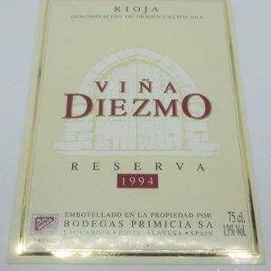 Viña Diezmo Reserva 1994 Bodegas Primicia. Laguardia. Rioja Alavesa. Etiqueta impecable 13x9,1cm