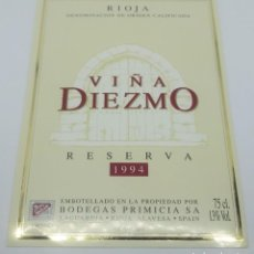 Etiquetas antiguas: VIÑA DIEZMO RESERVA 1994 BODEGAS PRIMICIA. LAGUARDIA. RIOJA ALAVESA. ETIQUETA IMPECABLE 13X9,1CM. Lote 160100094