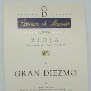 Gran Diezmo Crianza de Mazuelo 1996 Bodegas Primicia Laguardia Rioja Alavesa Etiqueta impecable