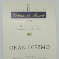 Etiquetas antiguas: GRAN DIEZMO CRIANZA DE MAZUELO 1996 BODEGAS PRIMICIA LAGUARDIA RIOJA ALAVESA ETIQUETA IMPECABLE. Lote 160100282
