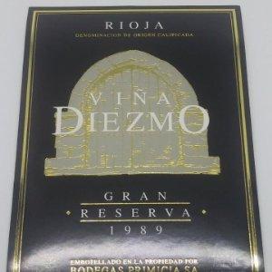 Viña Diezmo Gran reserva 1989 Bodegas Primicia Laguardia Rioja Alavesa Etiqueta impecable 13x9,1cm