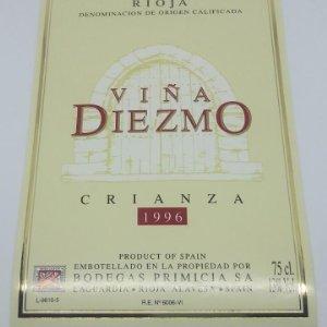 Viña Diezmo Crianza 1996 Bodegas Primicia Laguardia Rioja Alavesa Etiqueta impecable 13x9,1cm