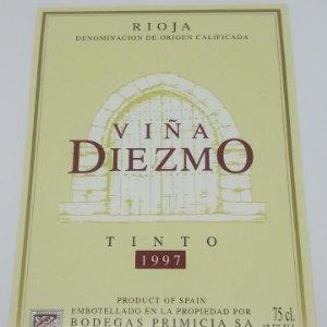 Viña Diezmo Tinto 1997 Bodegas Primicia Laguardia Rioja Alavesa Etiqueta impecable 13x9,1cm