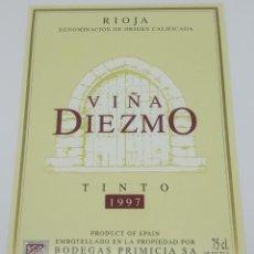 Etiquetas antiguas: VIÑA DIEZMO TINTO 1997 BODEGAS PRIMICIA LAGUARDIA RIOJA ALAVESA ETIQUETA IMPECABLE 13X9,1CM. Lote 160100778