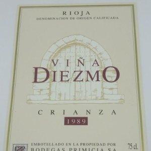 Viña Diezmo Crianza 1989 Bodegas Primicia Laguardia Rioja Alavesa Etiqueta impecable 13x9,1cm
