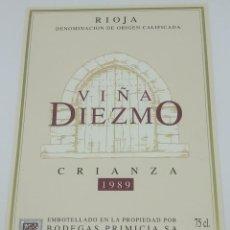 Etiquetas antiguas: VIÑA DIEZMO CRIANZA 1989 BODEGAS PRIMICIA LAGUARDIA RIOJA ALAVESA ETIQUETA IMPECABLE 13X9,1CM. Lote 160100842