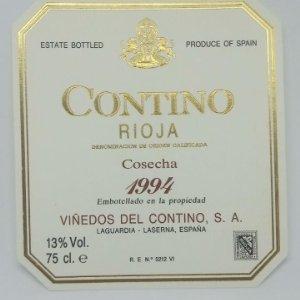 Contino Rioja Cosecha 1994 Viñedos del Contino. Laguardia. Laserna. Etiqueta impecable 11,5x10,5cm
