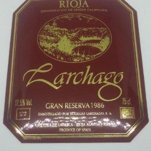 Larchago. Gran reserva 1986. Bodegas Larchago. La puebla de labarca. Etiqueta impecable 11,5x10cm