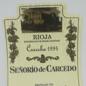 Señorío de Carcedo. Cosecha 1994 Bodegas Cardema Fuenmayor La Rioja Impecable, nunca pegada 13x9,8