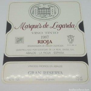 Marqués de Legarda 1987 Bodegas de la real divisa. Abalos. Rioja. Impecable, nunca usada 12x10,7