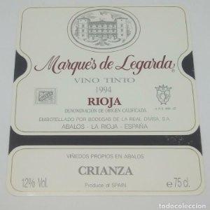 Marqués de Legarda 1994 Bodegas de la real divisa. Abalos. Rioja. Impecable, nunca usada 12x10,7