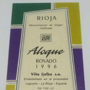 Aloque- Rosado 1996 Viña Ijalba. Logroño. La Rioja. Etiqueta impecable nunca usada 14,5x7,9cm