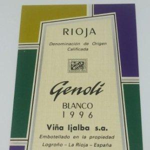 Genoli. Blanco 1996 Viña Ijalba. Logroño. La Rioja. Etiqueta impecable nunca usada 14,5x7,9cm