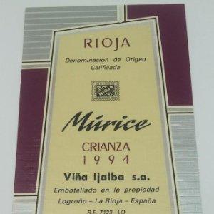 Múrice. Crianza 1994 Viña Ijalba. Logroño. La Rioja. Etiqueta impecable nunca usada 14,5x7,9cm