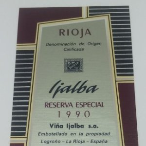 Ijalba Reserva especial 1990 Viña Ijalba Logroño La Rioja. Etiqueta impecable nunca usada 14,5x7,9cm