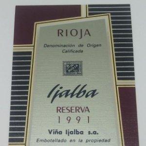 Ijalba Reserva especial 1991 Viña Ijalba Logroño La Rioja. Etiqueta impecable nunca usada 14,5x7,9cm