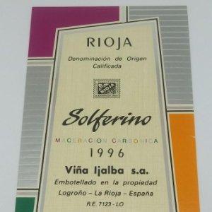 Solferino Maceracion carbónica 1996 Viña Ijalba Logroño La Rioja. Etiqueta impecable 14,5x7,9cm