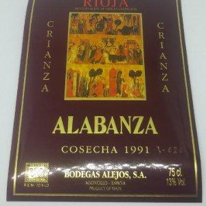 Alabanza. Crianza. Cosecha 1991. Bodegas Alejos. Agonchillo. Etiqueta impecable 9,3x12,8cm