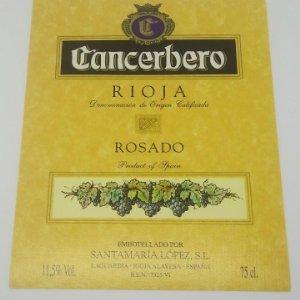 Cancerbero. Rioja. Rosado. Santamaría López. Laguardia. Rioja Alavesa. Etiqueta impecable 12,7x10cm