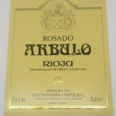 Etiquetas antiguas: ARBULO. RIOJA. ROSADO. SANTAMARÍA LÓPEZ. LAGUARDIA. RIOJA ALAVESA. ETIQUETA IMPECABLE 12,7X10CM. Lote 160273618