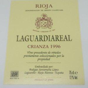 Laguardiareal. Crianza 1996 Santamaría López. Laguardia. Rioja Alavesa. Etiqueta impecable 12,7x10cm