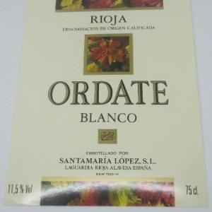 Ordate. Blanco. Rioja. Santamaría López. Laguardia. Rioja Alavesa. Etiqueta impecable 12,7x10cm