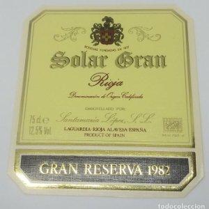 Solar Gran. Rioja. 1982 Santamaría López. Laguardia. Rioja Alavesa. Etiqueta impecable 11,2x10cm