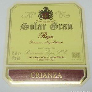 Solar Gran. Rioja. Crianza. Santamaría López. Laguardia. Rioja Alavesa. Etiqueta impecable 11,2x10cm