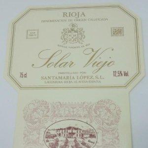 Solar Viejo. Santamaría López. Laguardia. Rioja Alavesa. Etiqueta impecable 14,4x11cm