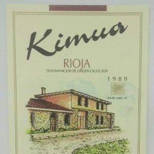 Kimua. Rioja. Carmelo Medrano Grijalba. Lapuebla de Labarca. Rioja Alavesa. Etiqueta impecable 13x10
