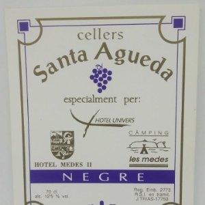 Cellers Santa Agueda. Negre. Hotel Univers. Hotel Medes. Camping Medes. Etiqueta impecable 12x9,6cm
