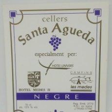Etiquetas antiguas: CELLERS SANTA AGUEDA. NEGRE. HOTEL UNIVERS. HOTEL MEDES. CAMPING MEDES. ETIQUETA IMPECABLE 12X9,6CM. Lote 160286366
