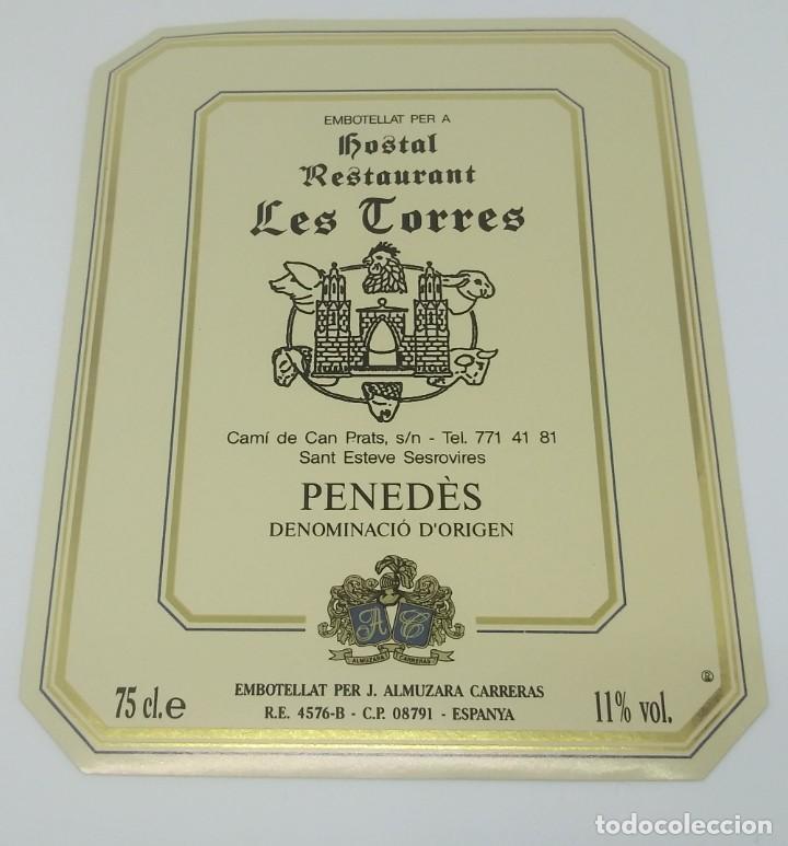 Hostal Restaurant Les Torres. San Esteve Senrovires. Almuzarra Carreras. Etiqueta 12,5x10cm - 160286814