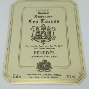Hostal Restaurant Les Torres. San Esteve Senrovires. Almuzarra Carreras. Etiqueta 12,5x10cm