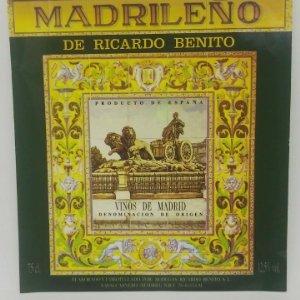 Madrileño de Ricardo Benito. Vinos de Madrid. Etiqueta 12x11cm