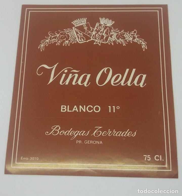 Viña Oella. Blanco 11º Bodegas Terrades. Gerona. Girona. Etiqueta 13x11cm - 160287482
