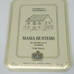 Casa Bustems. Masia Bustems. ALmuzara Carreras. Sant Llorenç d'Hortons. Etiqueta 12,8x10cm